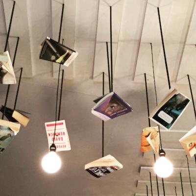 Book art at McNally Jackson in SoHo, NYC