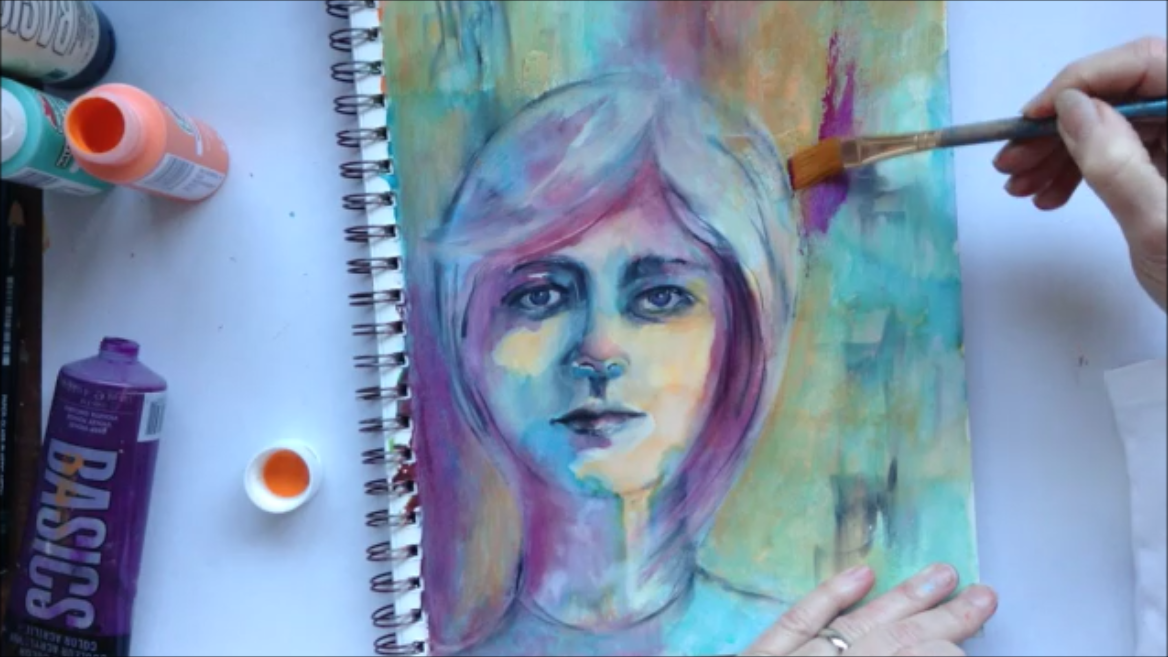 Part 3: Glazing background with acrylic and enriching darks.