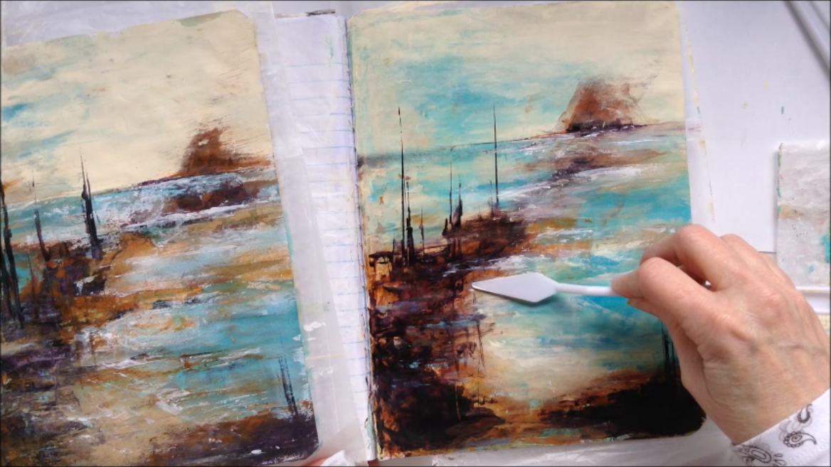 Using gesso and palette knife to create wave movement.