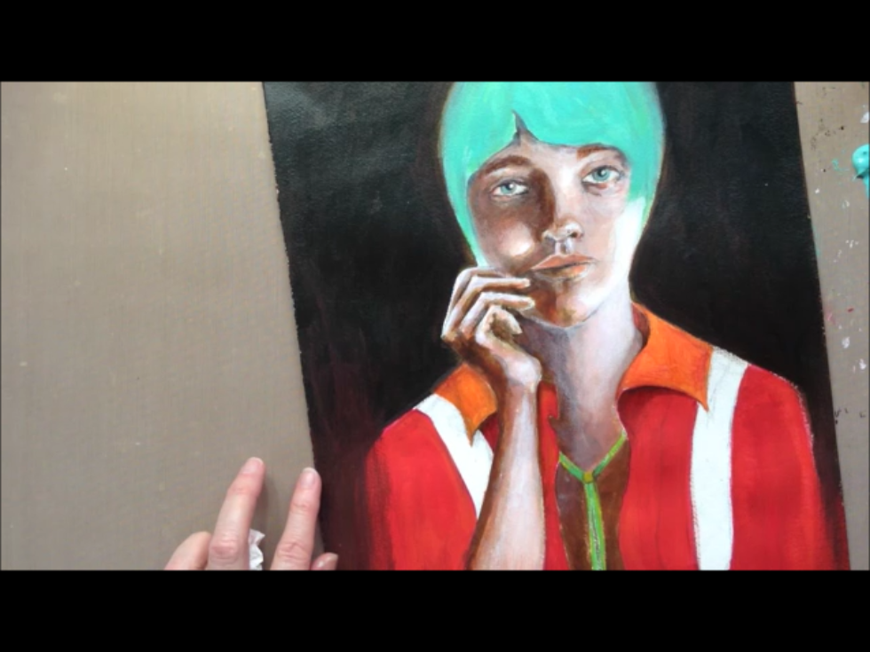 Painting hair and clothing.