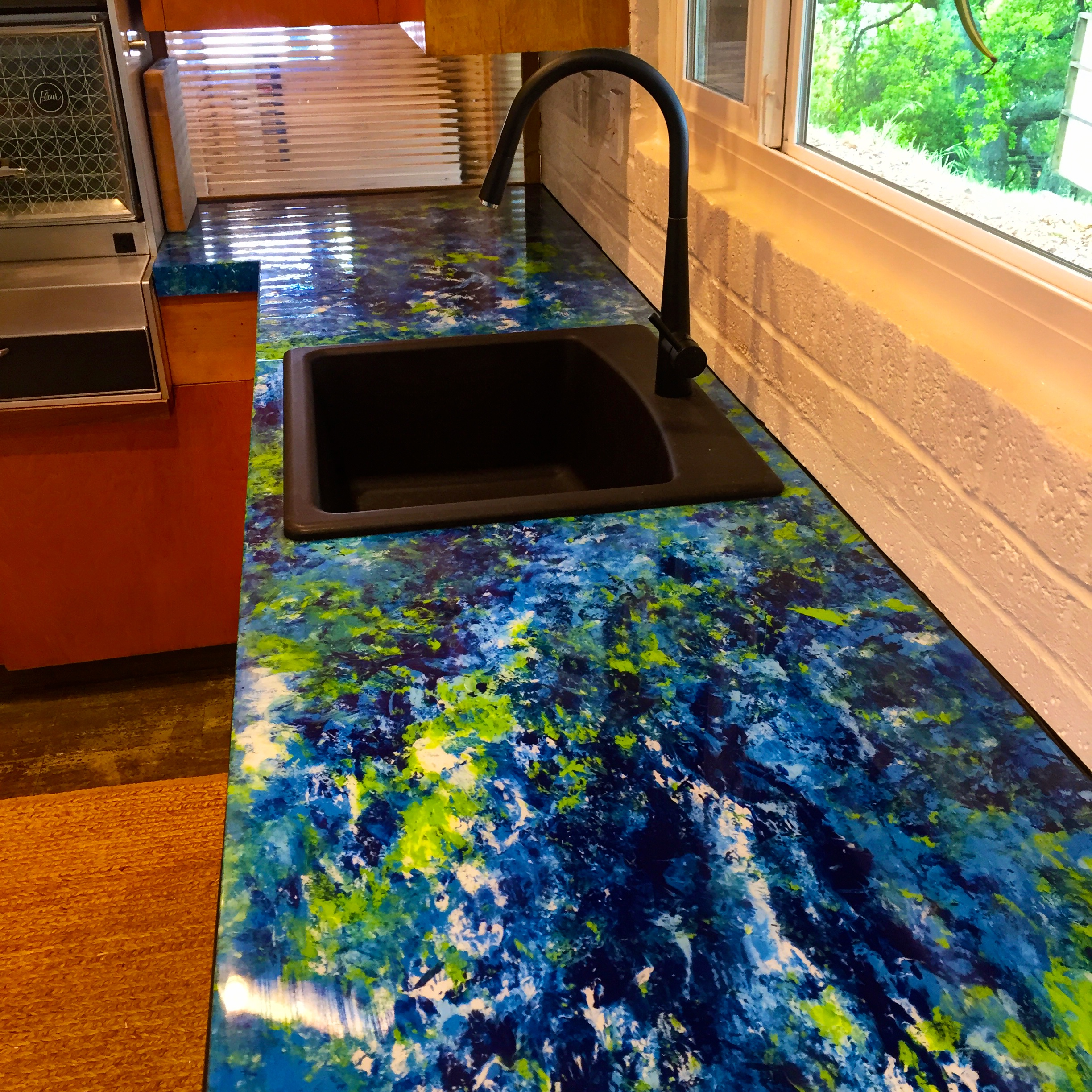 Custom countertop #1 painted plywood with bar finish.