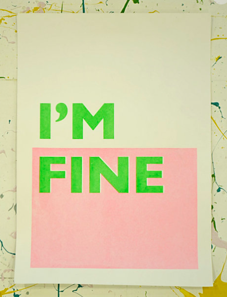 I'm Fine Screen Print by JOLT £10 - JOLT is the homeware and lifestyle brand of Designs in Mind; a working studio where adults living with mental health challenges work as a team on experimental, ambitious and high quality art and design work.Their prints, textiles and other homewares not only look good but together your purchase helps improve the lives of those living with mental health difficulties.Their Christmas campaign this year is encouraging people to #BuySocial this Christmas. Use #GoodEgg to join the community.But this print at thisisjolt.co.uk