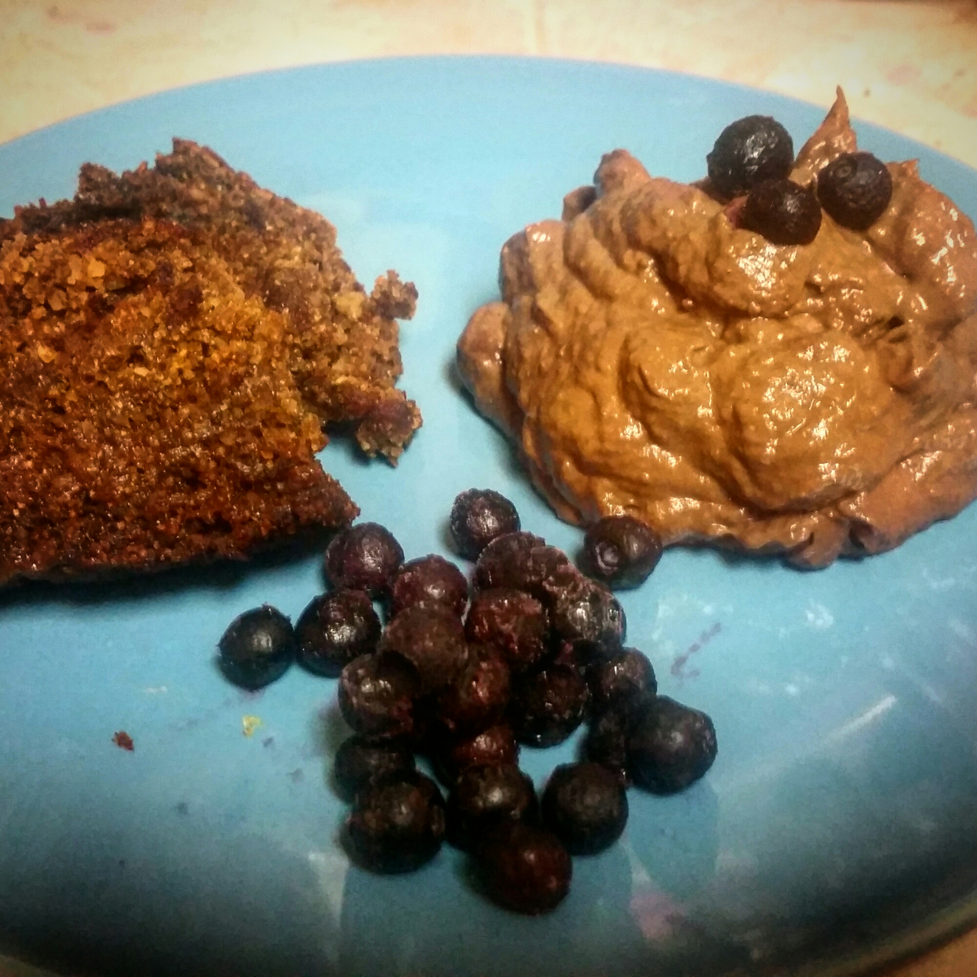 - Gingerbread Loaf with Chocolate Avocado Pudding & Blueberries