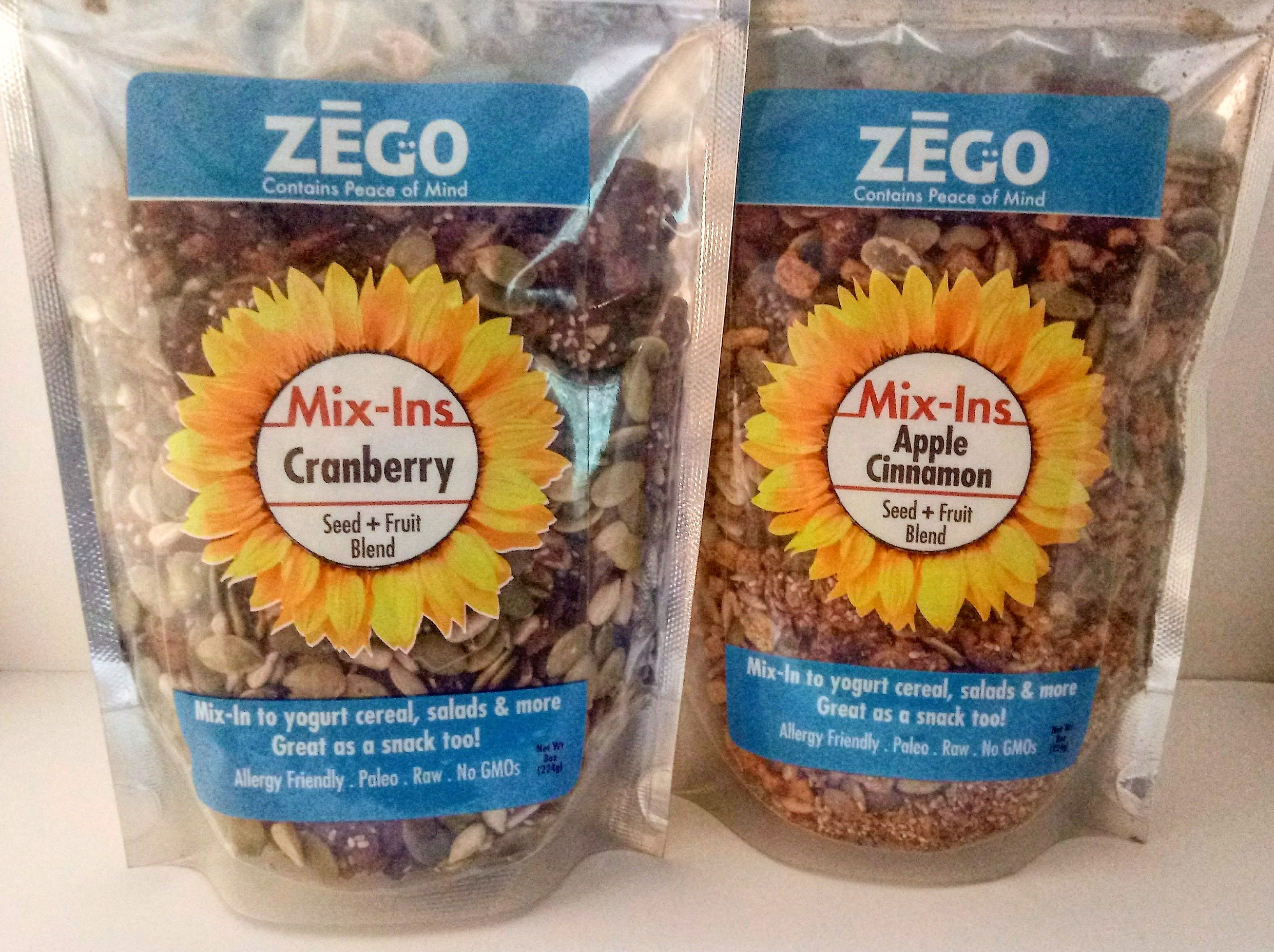 - Zego Mix-Ins come in 2 flavors:Cranberry & Apple Cinnamon