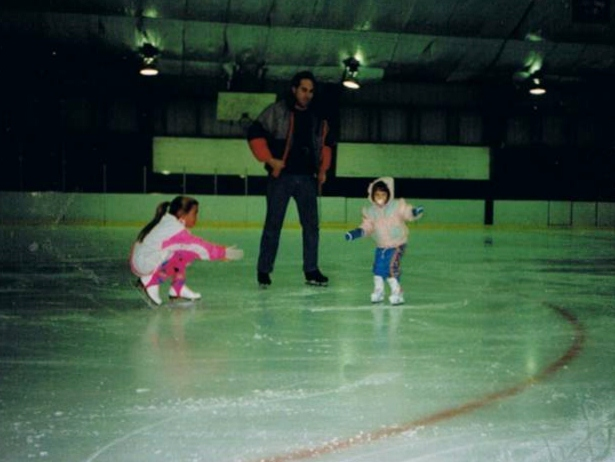 Skating with Kiersten, age 7 and 2.