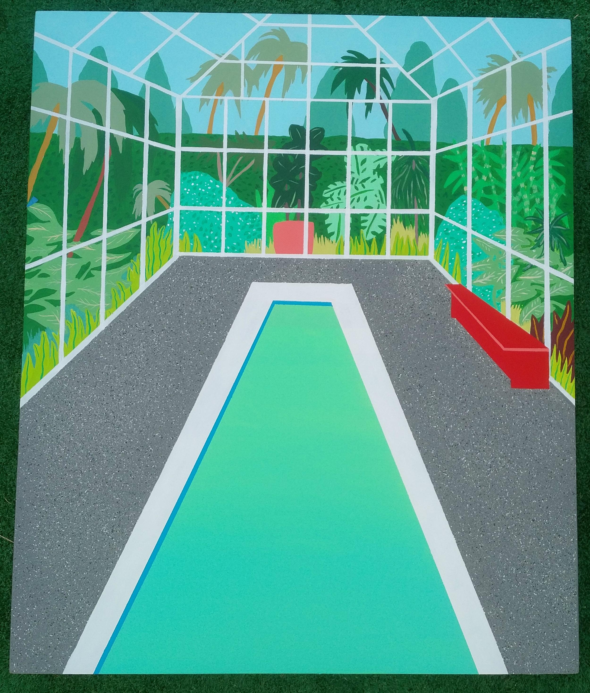"""'Greenhouse Pool' Acrylic + Gouache on Panel, 20"""" x 24"""""""
