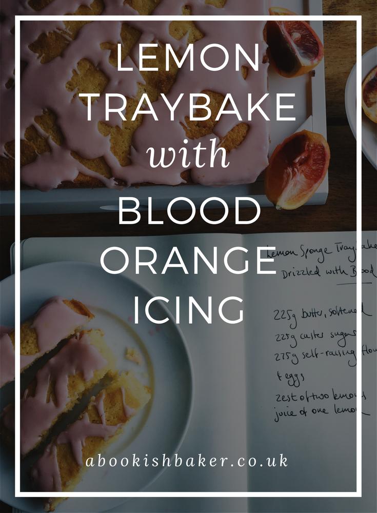 lemon traybake with blood orange icing