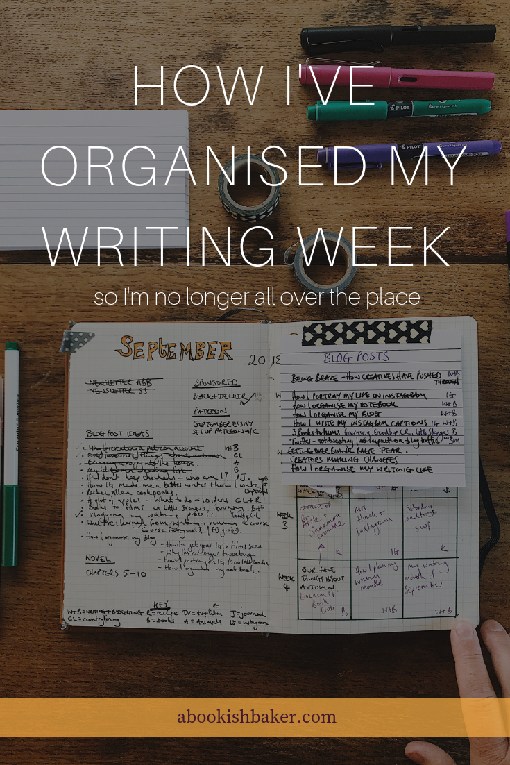 How I've organised my writing week (so I'm no longer all over the place)