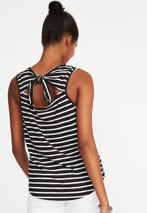 Relaxed Sleeveless Tie-Back Top