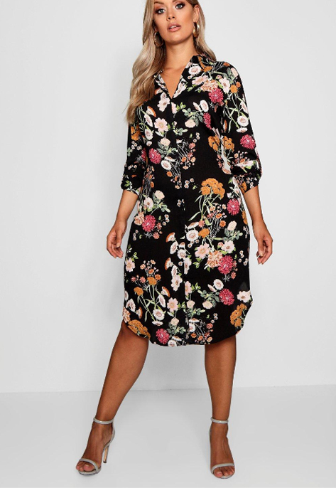 Plus Floral Printed Shirt Dress