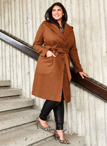 Hooded Coat with Wrap Belt