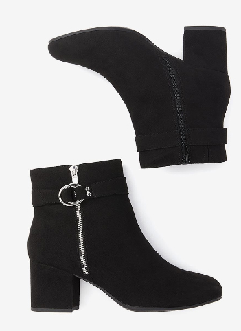 Mid Calf Bootie with Strap Details - Sienna