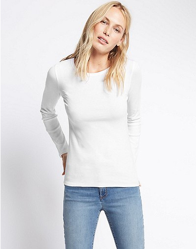 Pure Cotton Round Neck Long Sleeve T-Shirt in white