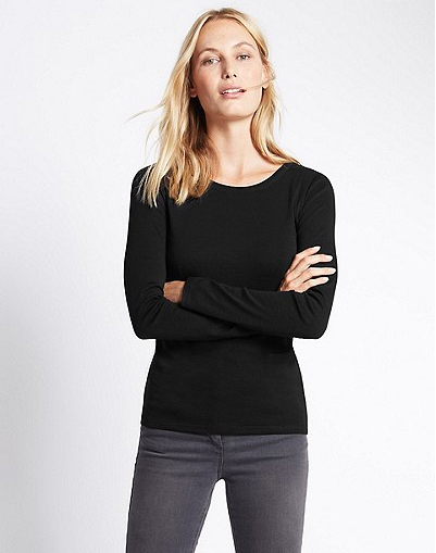 Pure Cotton Round Neck Long Sleeve T-Shirt in black