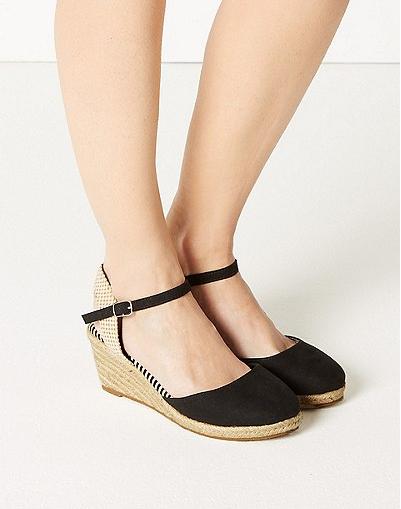 Wide Fit Wedge Heel Espadrilles in black