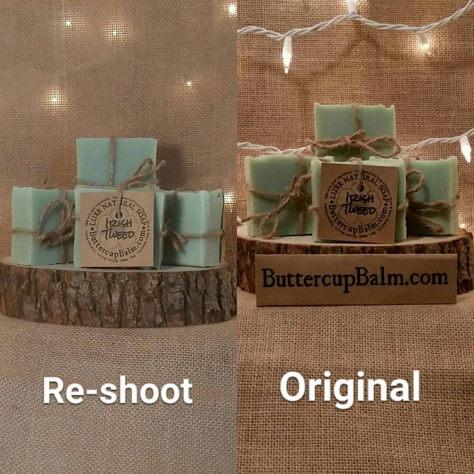 Comparison photo, originals were quite dark, twinkle lights distracting, eyes go to website not the soap.