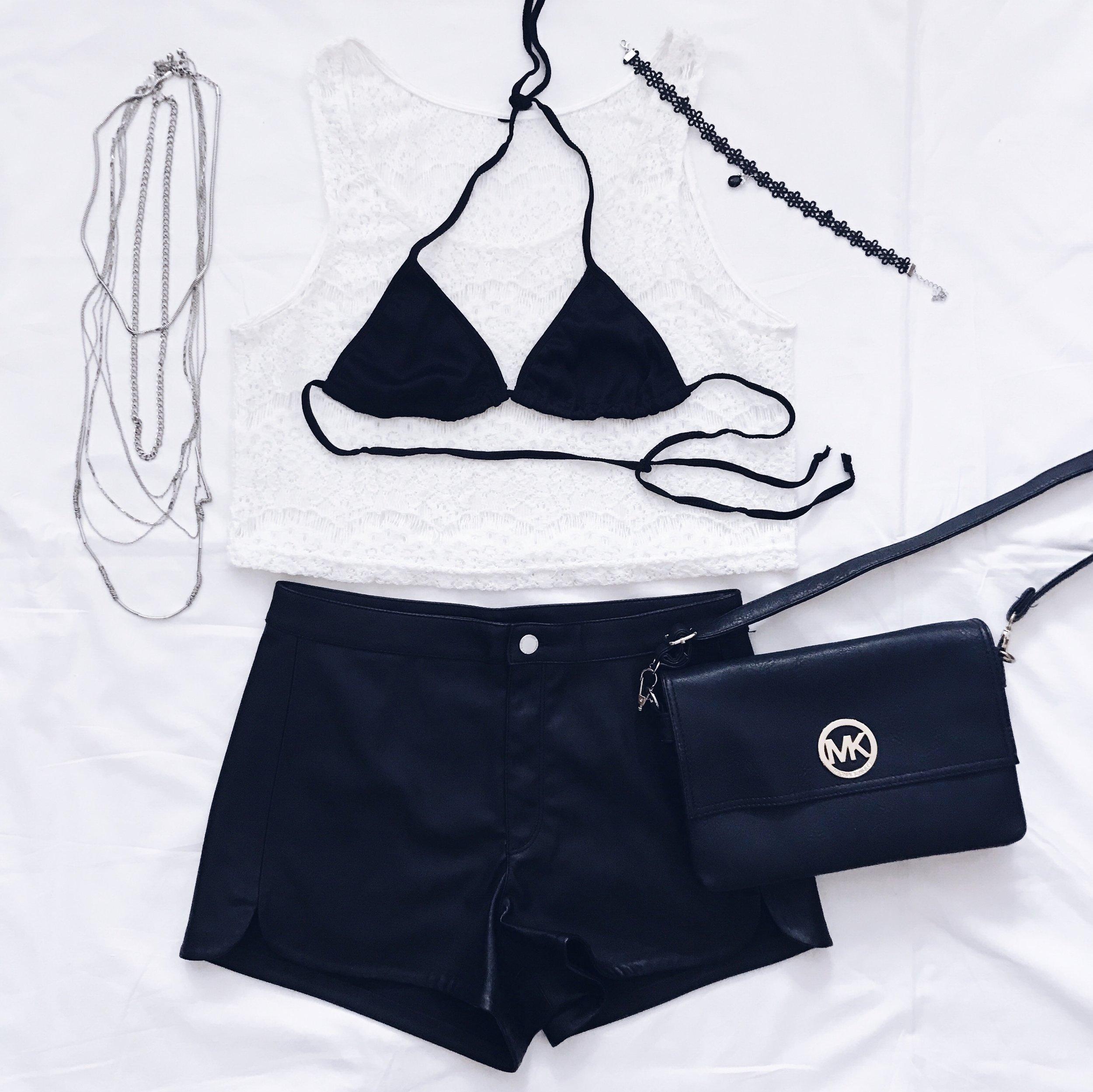 Бял Тон: Terranova    Кожени панталонки: H&M    Чантичка: Michael Kors    Горнище на бански: Asos    Колие & Верижка: H&M    Choker: Amazon Fashion