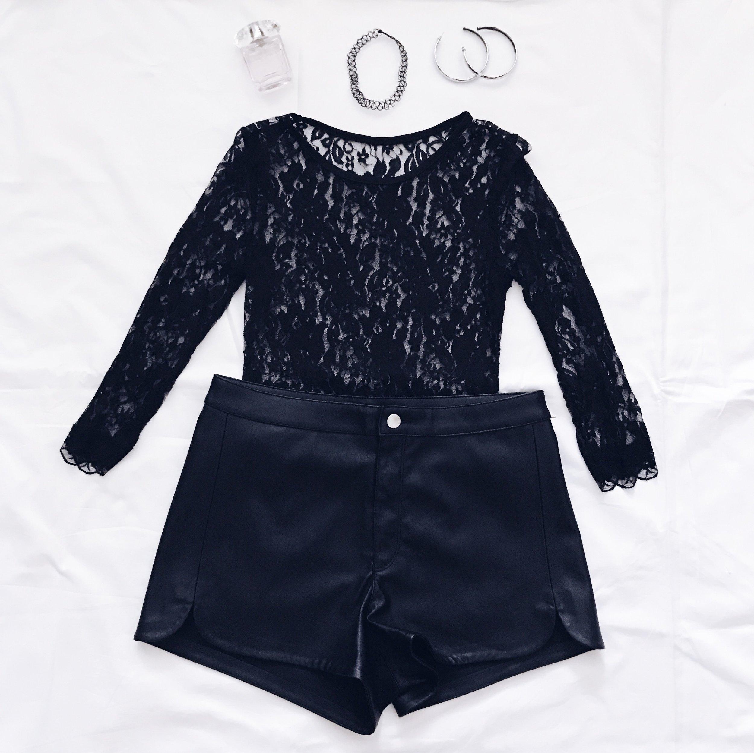 Leather Shorts: H&M    Black Lace Top: Tidebuy    Hoop Earrings: Nordstrom    Wire Choker: Dolls Kill     Perfume: Versace