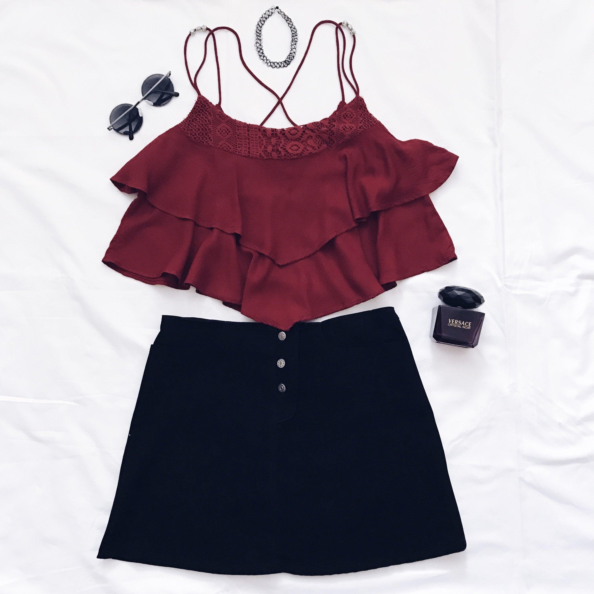 Crop Top & Sunglasses : H&M    Black Skirt: I have no idea :D     Perfume: Versace     Wire Choker: Dolls Kill