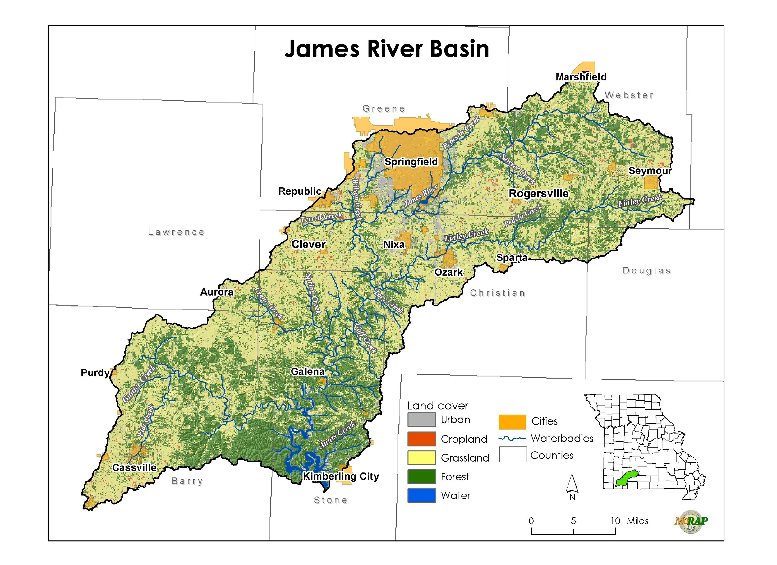 "This is the southwest Missouri watershed map of the James River watershed. Note: ""Basin"" also means ""watershed."" A watershed is an entire river system. It is is an area of land where all the rain and tributaries drain to one common body of water - like a river. In our basin, it flows to the James River then into Table Rock Lake."