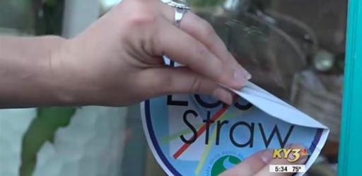 """KY3 """"' Last Straw' Stickers Placed Outside of Businesses to Unify the Reduction of Plastic Straws """""""