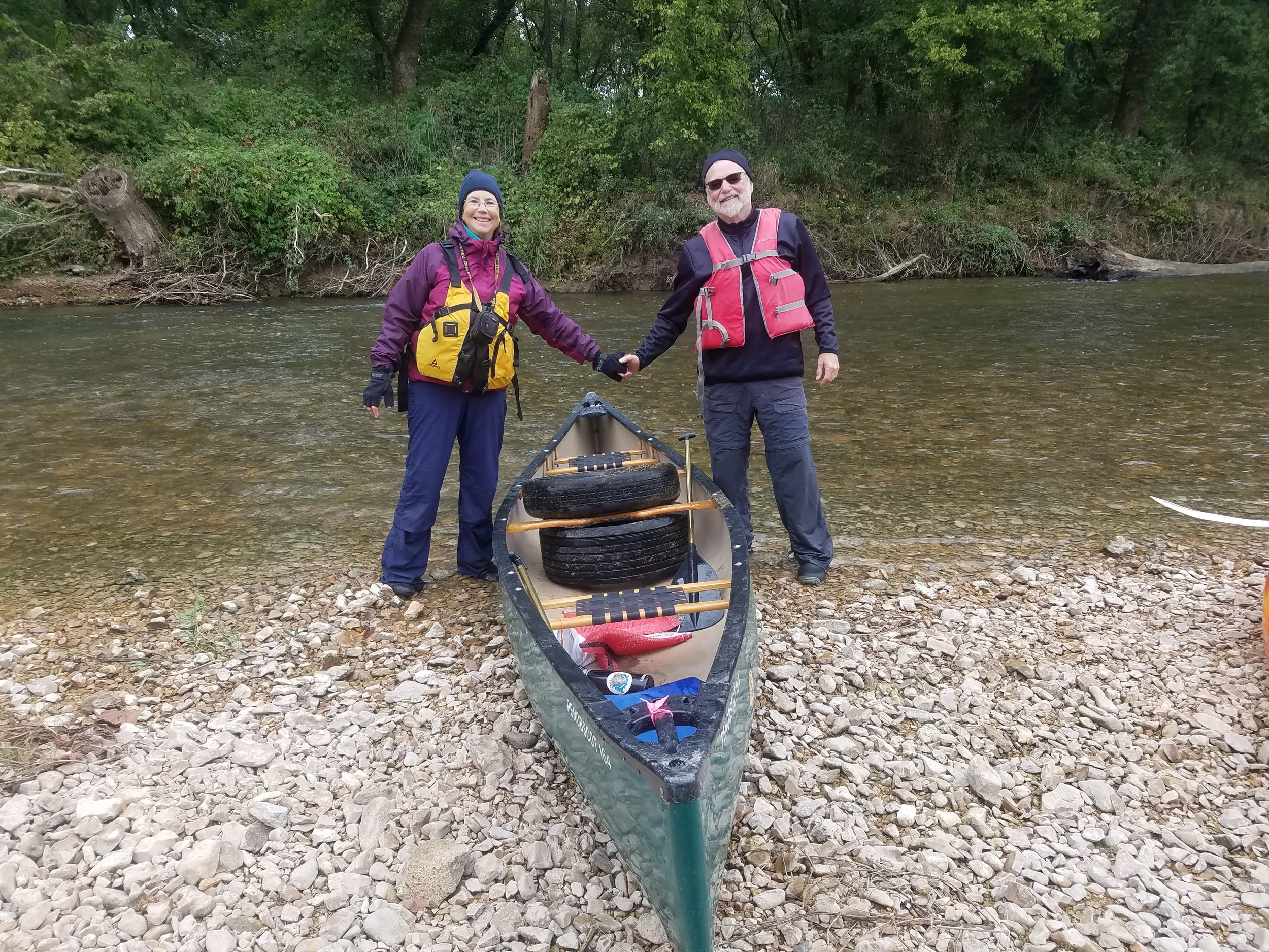 Darlene and Ed Haun, longtime JRBP and Missouri Stream Team members, did their fair share of picking up old tires during the float.