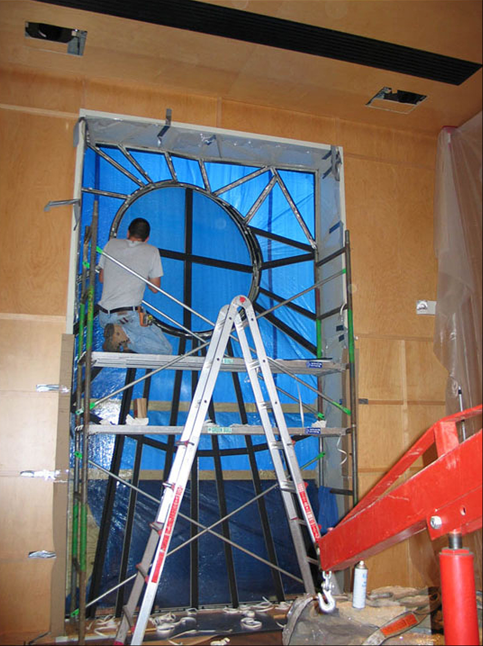 Window Covered In Tarp During Installation