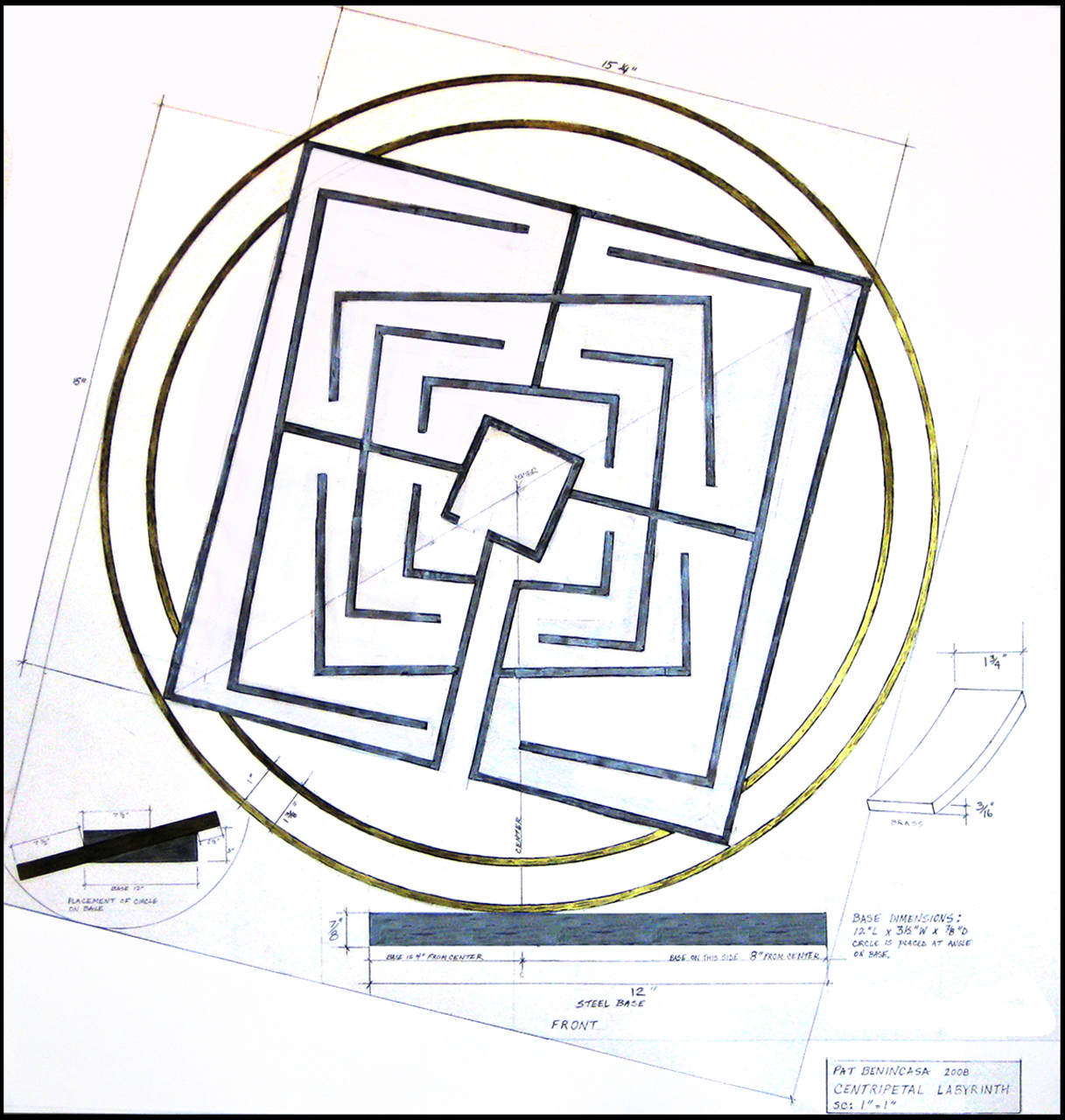 Centripetal Labyrinth Drawing