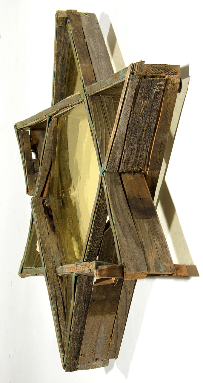 """Mogen David: How Do You remember What You Never forget?""  2006, Wood, German new Antique glass, copper, 26"" x 28"" x 6""  © Pat Benincasa 2006All Rights Reserved"