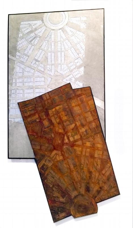 """""""Detroit,"""" 2010, Encaustic, cement, rust, paint on wood panel, 36"""" x68"""" x2.5"""""""