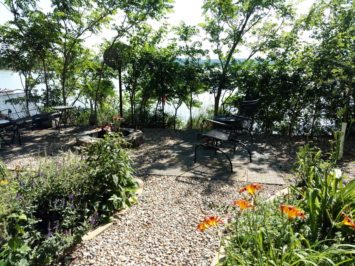 A newly created fire pit area out by the river