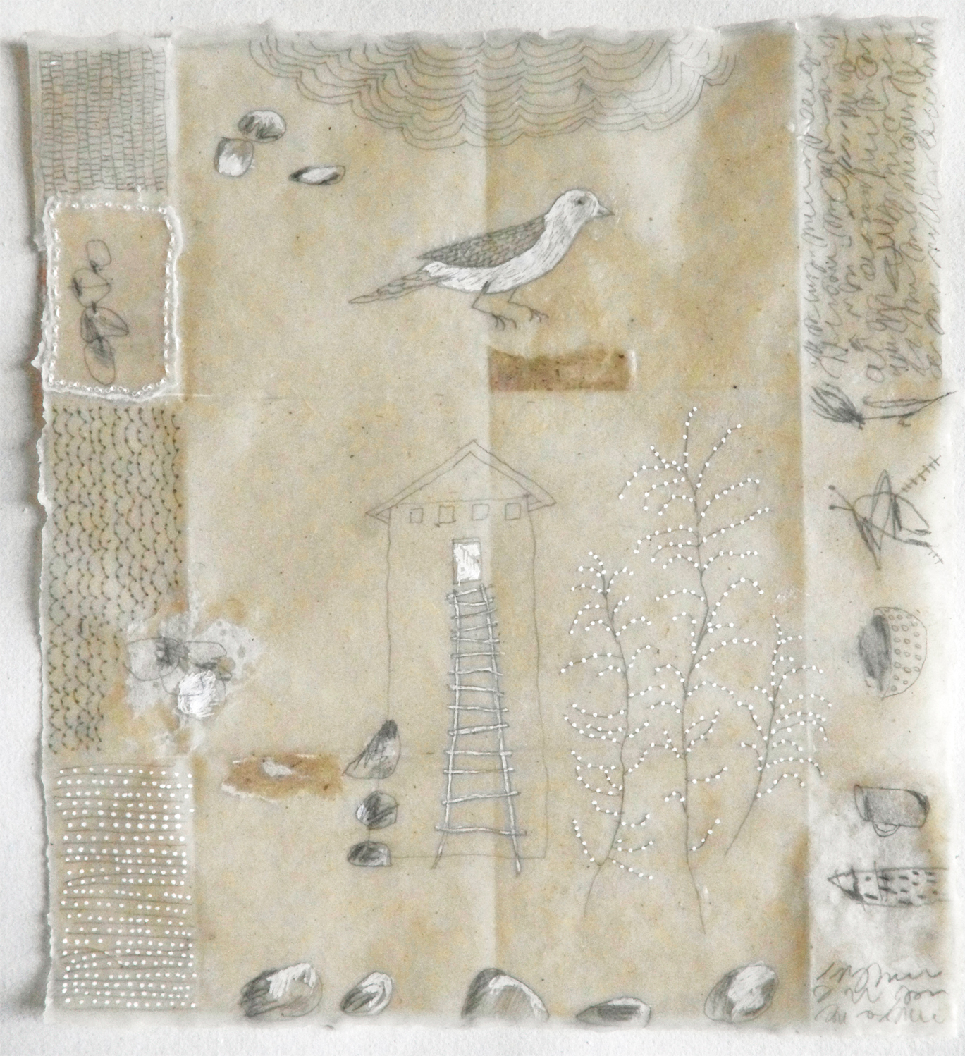 Notes From The Ancestors no.1 (graphite, ink, beeswax, collage, sewing on Japanese paper)