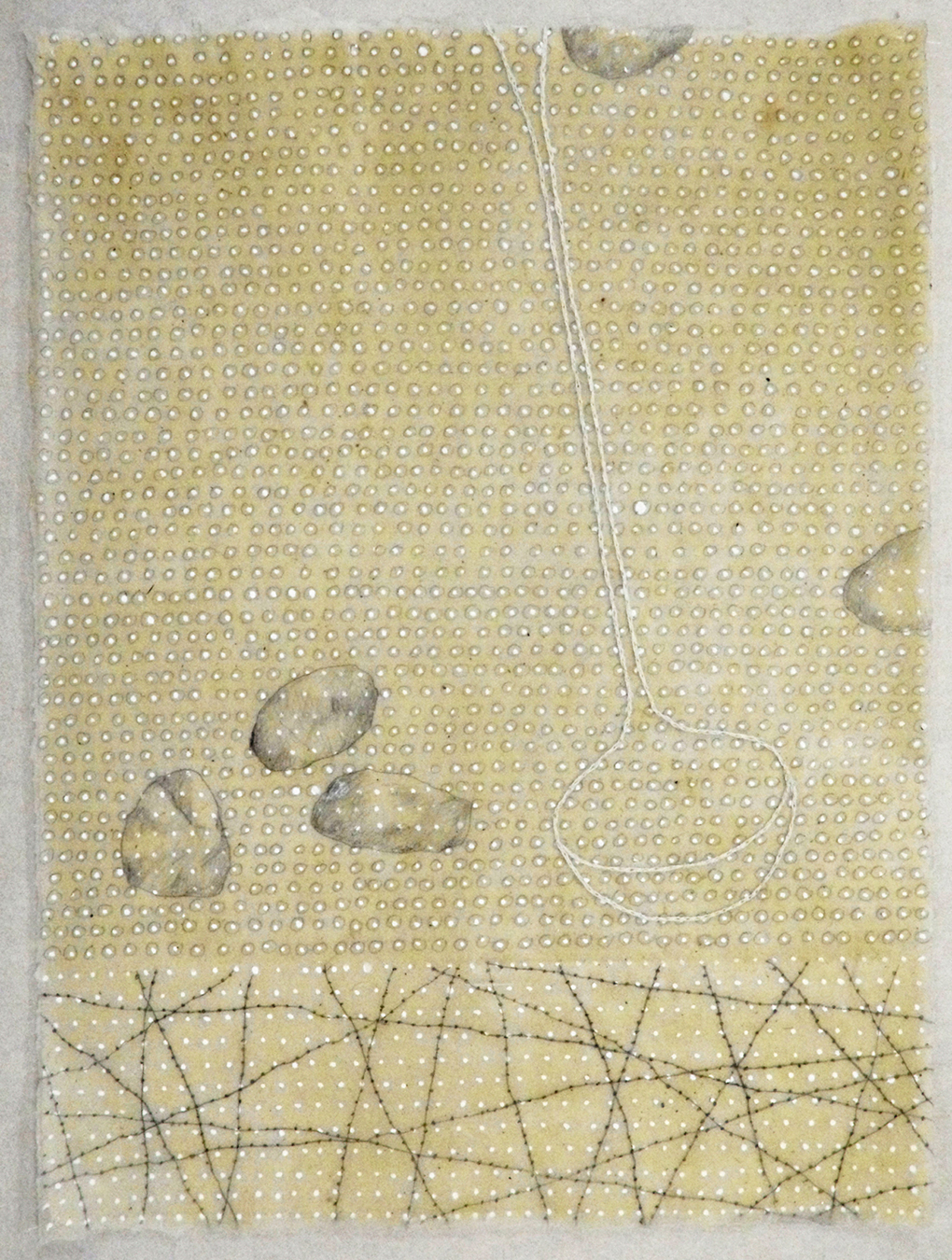 Notes From The Ancestors no.11 (graphite, ink, beeswax, embroidery on Japanese paper)