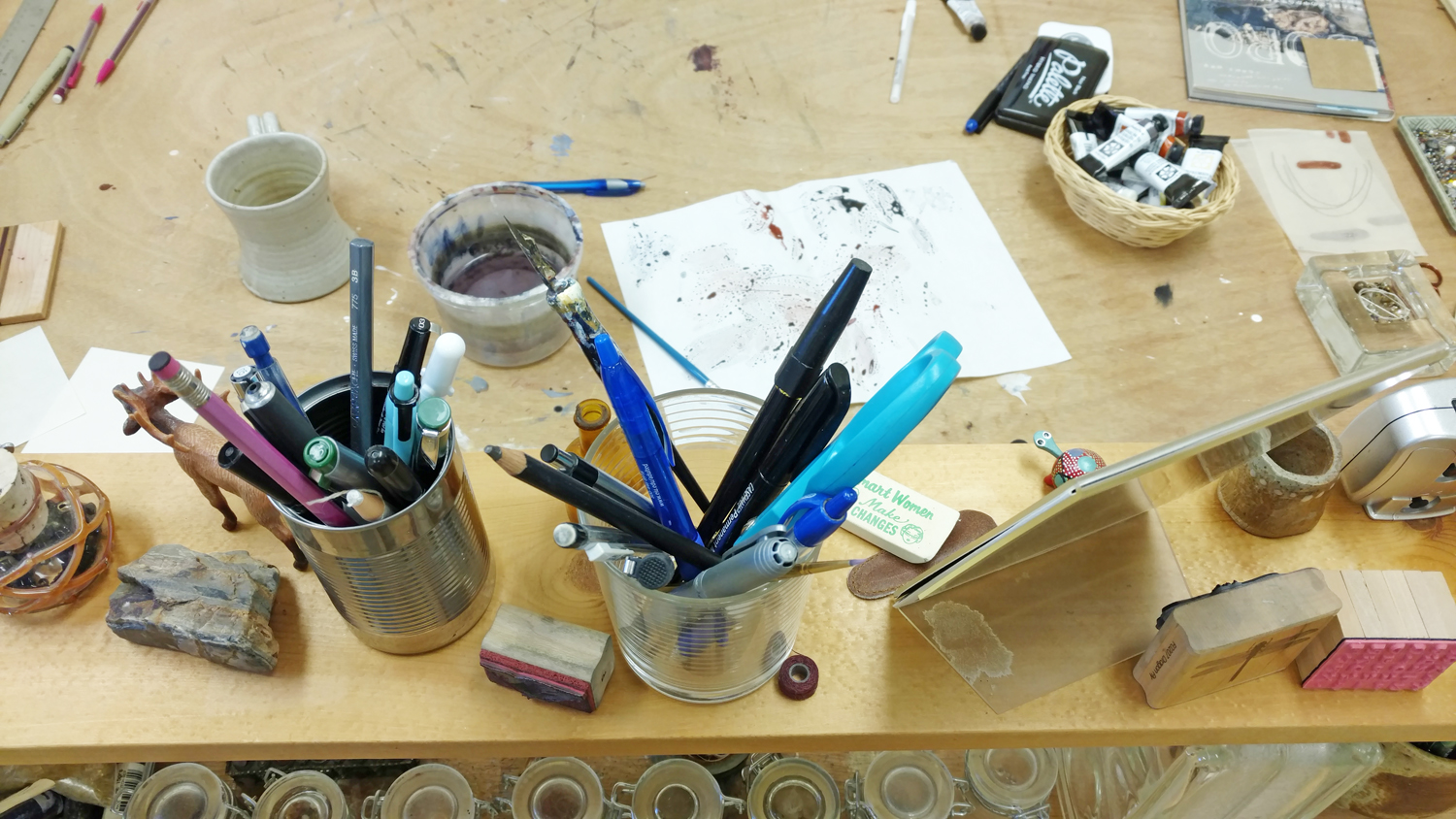 Work table in Patti's studio
