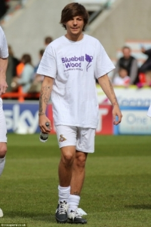 Louis at the charity football match for Bluebell Wood Children's Hospice at Keepmoat Stadium in Doncaster on April 19, 2015.