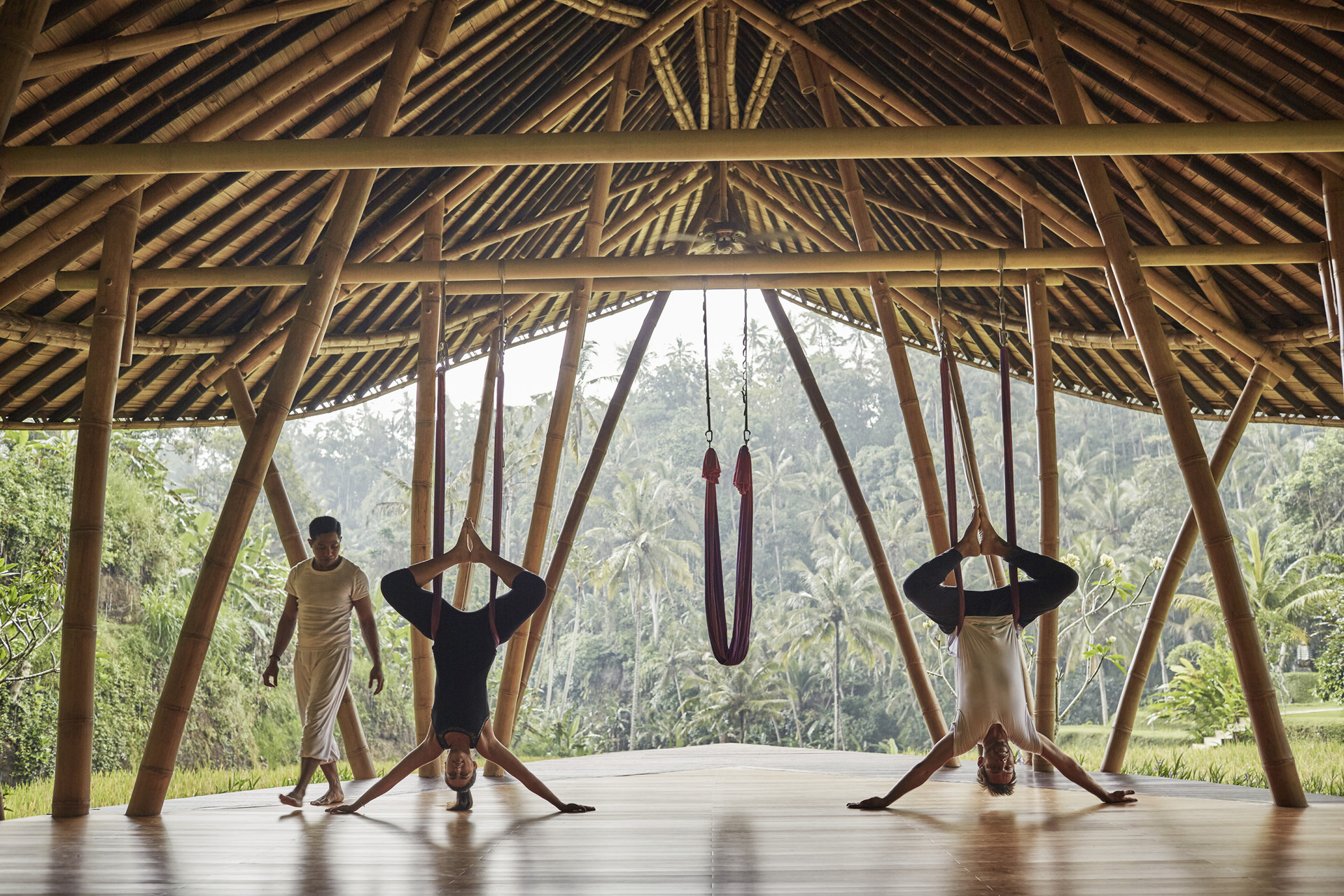 Anti gravity yoga at the incredible Four Seasons Sayan, Bali.