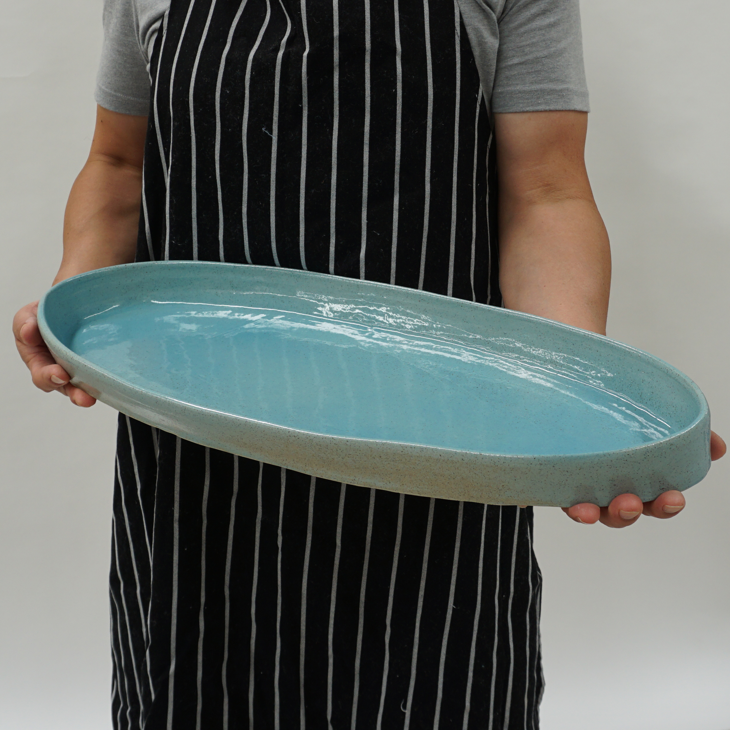 tufts salmon dish in turquoise