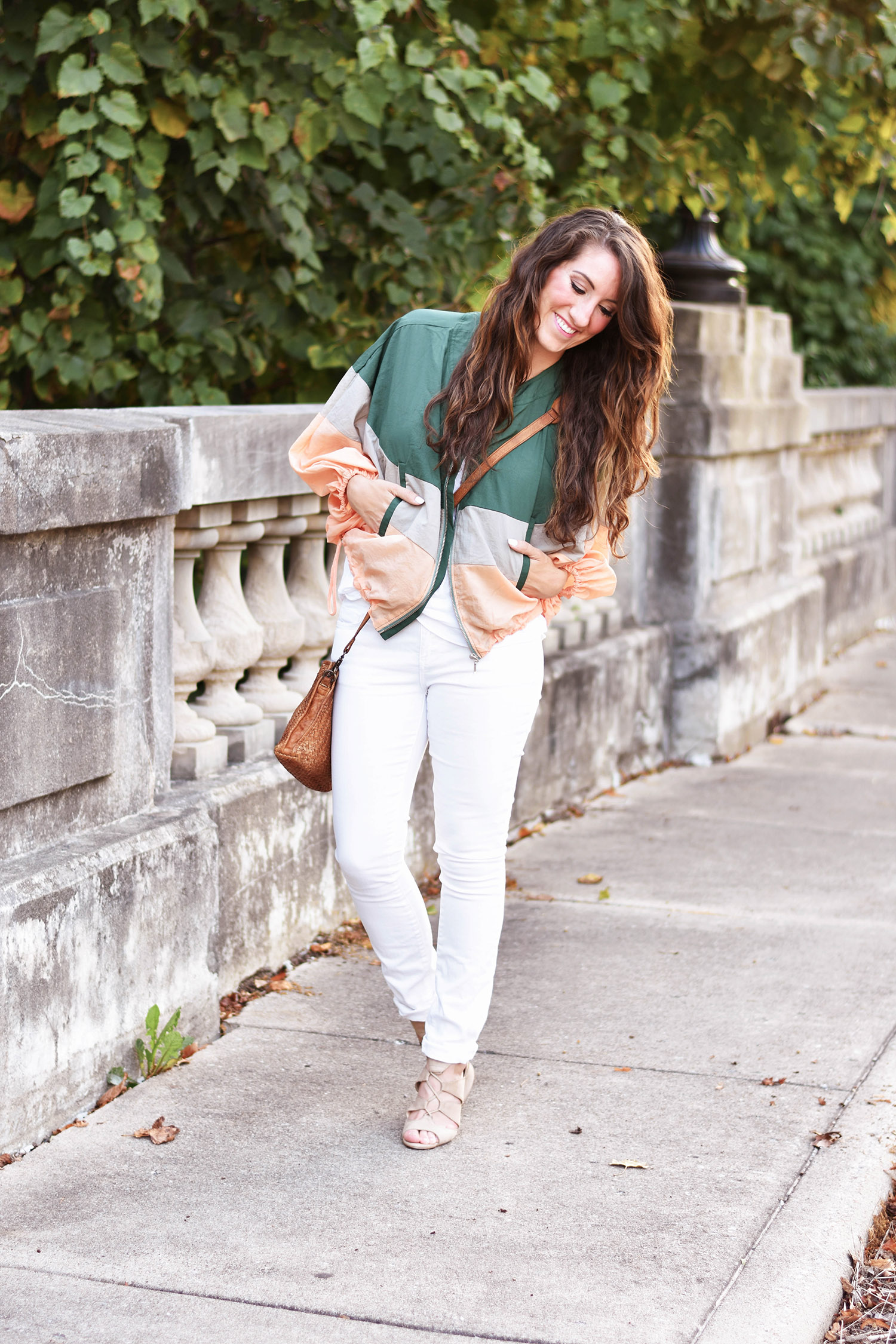 Anthropologie jacket [ similar , but love  this one  and  this one ], tank [ classic ], jeans [ perfect fall sateen white ], bag [ similar , but crushing on  this ] // heels [ heart eyes for this pair , but similar  here ] //  MAC lipstick in Lovelorn