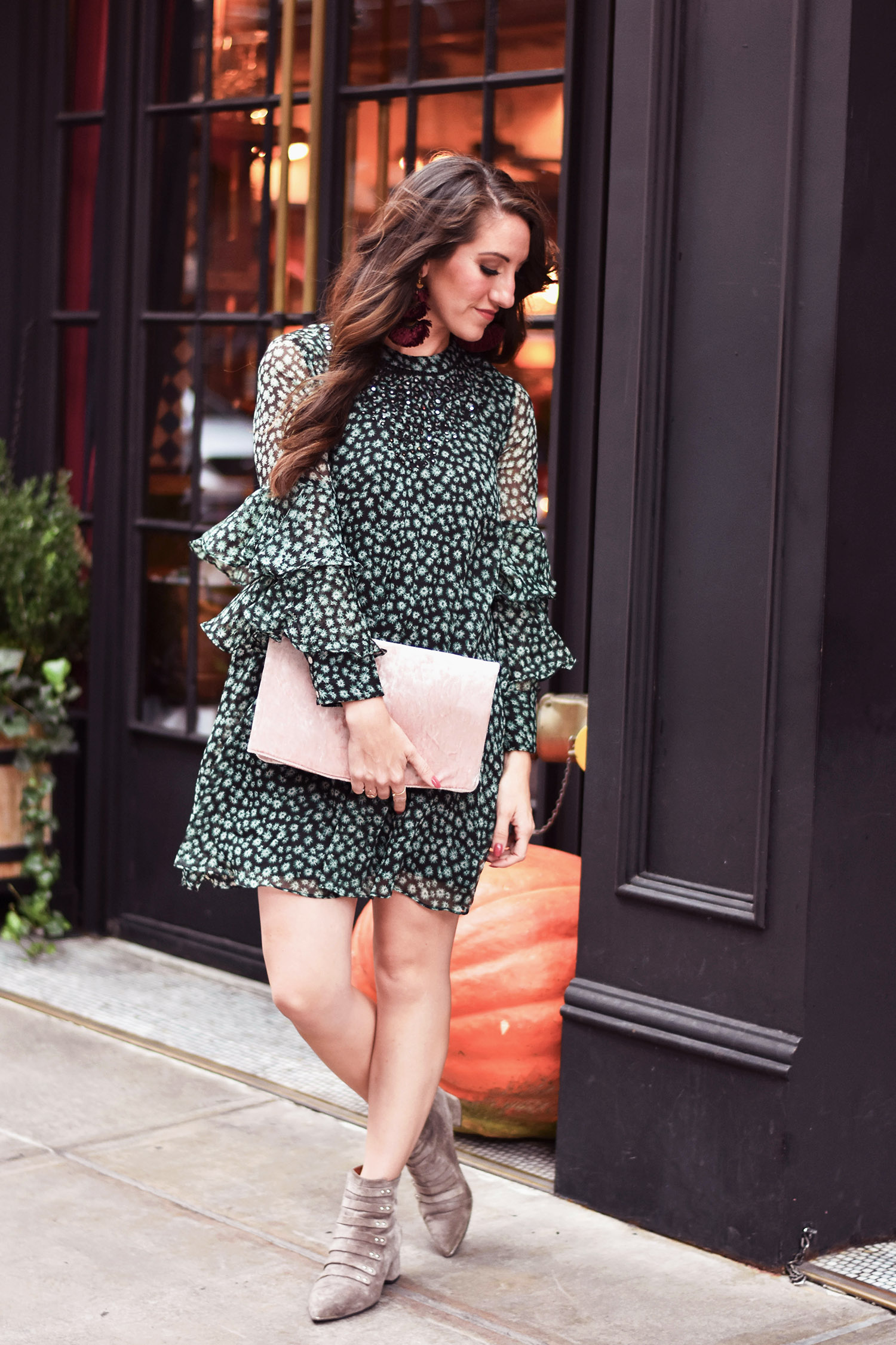 Anthropologie dress  //  earrings  // boots [love  these ,  these , or  these ] // Asos clutch [ similar and  love this one ]