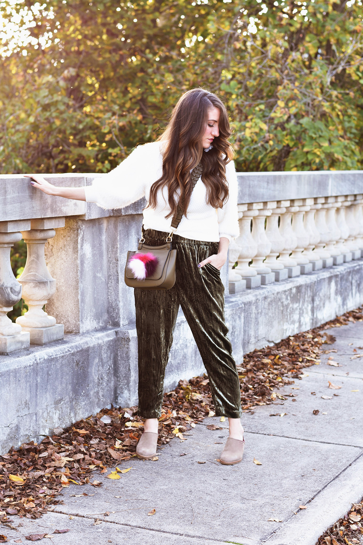 Anthropologie  sweater [ update since sold out +  another ] //  pants  //  bag [ love this tassel one too ]// earrings [been loving these + on sale /  pretty tassels ]// mules [ similar  +  similar ]
