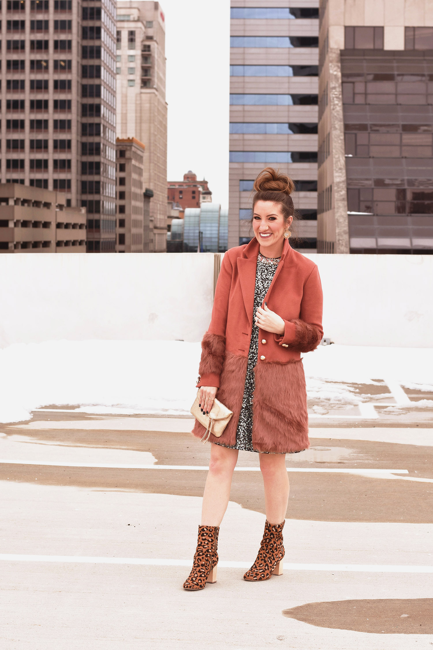 Anthropologie dress [ statement  /  feminine details  /  sequin splurge ] // coat [ similar  / last seen  here ] // boots [ similar ] // earrings [ love and want this copper pair ] //  clutch  // ring from my favorite Philly boutique [ I like this one ]