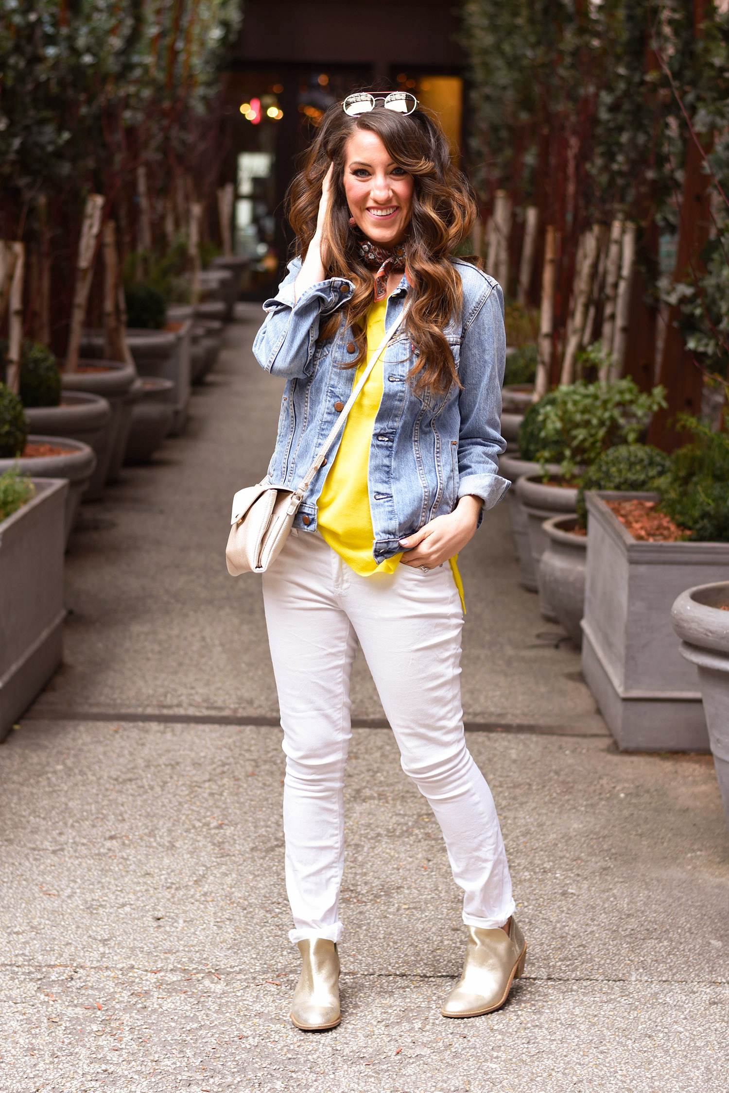 Anthropologie  sweater  // jeans [ similar  /  Levi's ]//  crossbody  //  sunnies  //  Levi's jacket  // Madewell earrings  // scarf [ similar ] //  Kelsi Dagger Brooklyn booties