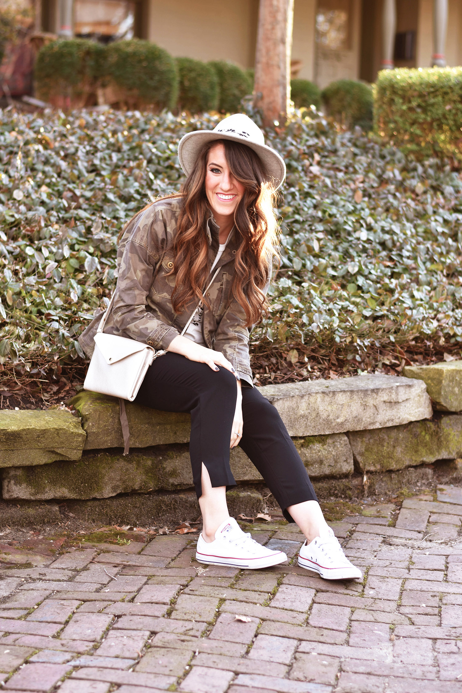Anthropologie  jacket  //  tee  //  pants  //  hat  //  crossbody  //  Converse