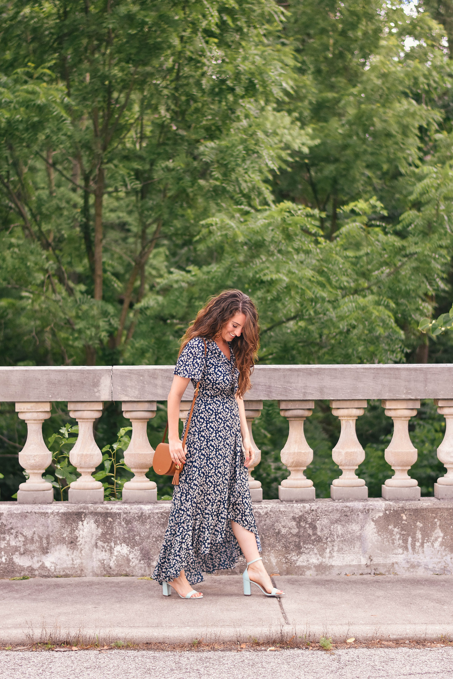 Lily & Sparrow Boutique dress  // Anthropologie earrings [ floral  /  gold  / similar ] //  Madden Girl heels [ similar ]// Lauren by Ralph Lauren bag [ similar /  love this one ]