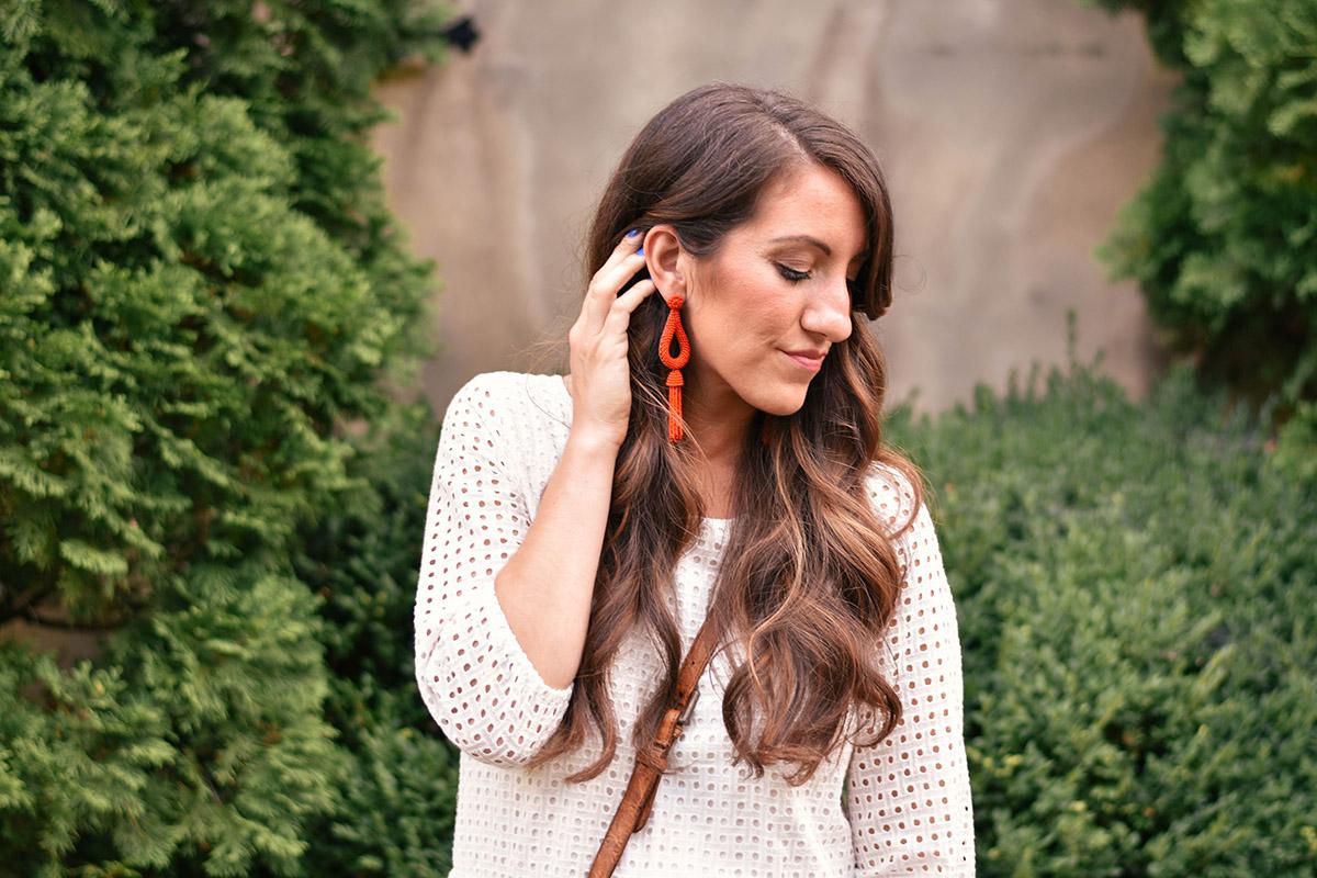Anthropologie earrings [ similar ]// romper [ wear now striped jumpsuit ]