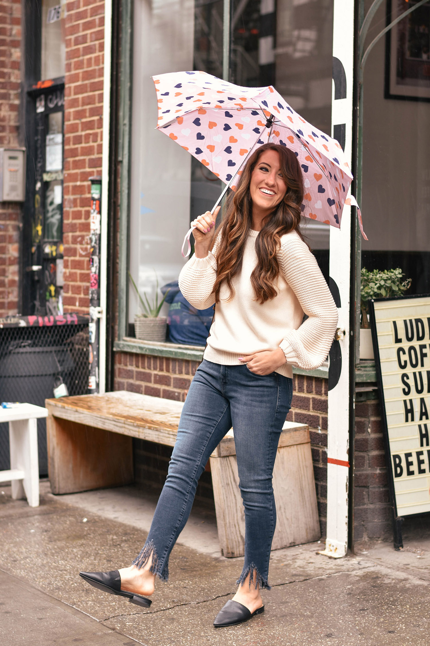 Lily & Sparrow Boutique sweater  //  denim  // Target mules [ similar  /  heeled version  /  loafer version ] //  umbrella
