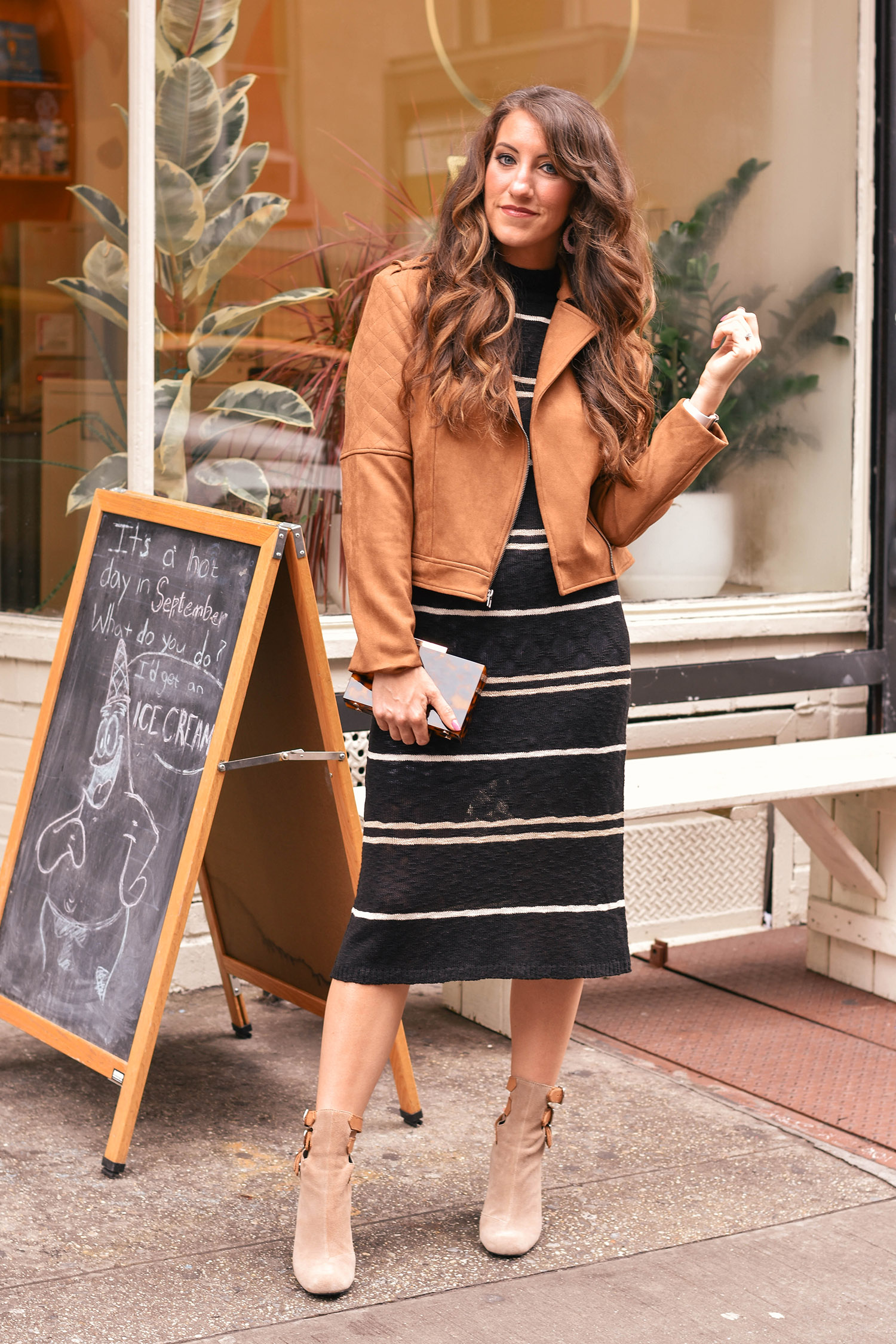 Lily & Sparrow Boutique dress  /  jacket  //  Zara clutch  [ also love this  and  this one ] // Anthropologie boots [ similar ,  these are great , and  love this colorblock ,  ok these too ] /  earrings
