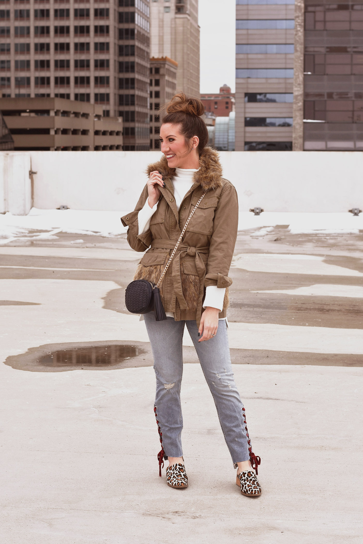 Anthropologie jacket [ similar ] / sweater [similar versions  here ,  here , and  here , ok  love this one  too] / jeans [ LOVE this splurge-y pair ] / bag [ similar  and  similar ] //  ABLE shoes  [more sizes  here  and same print, slightly different style  here ]
