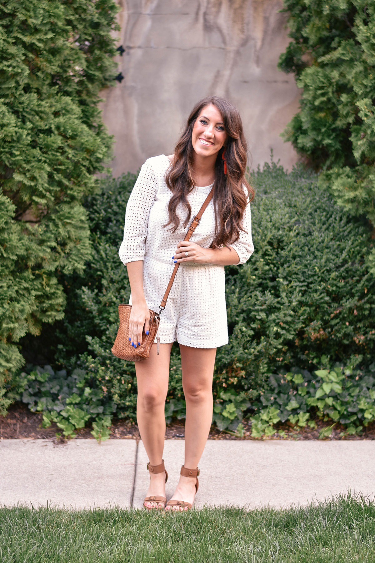 [ original post here ] Anthropologie romper [ similar ] / bag [ similar ] / earrings [ similar ] / sandals [ similar ]