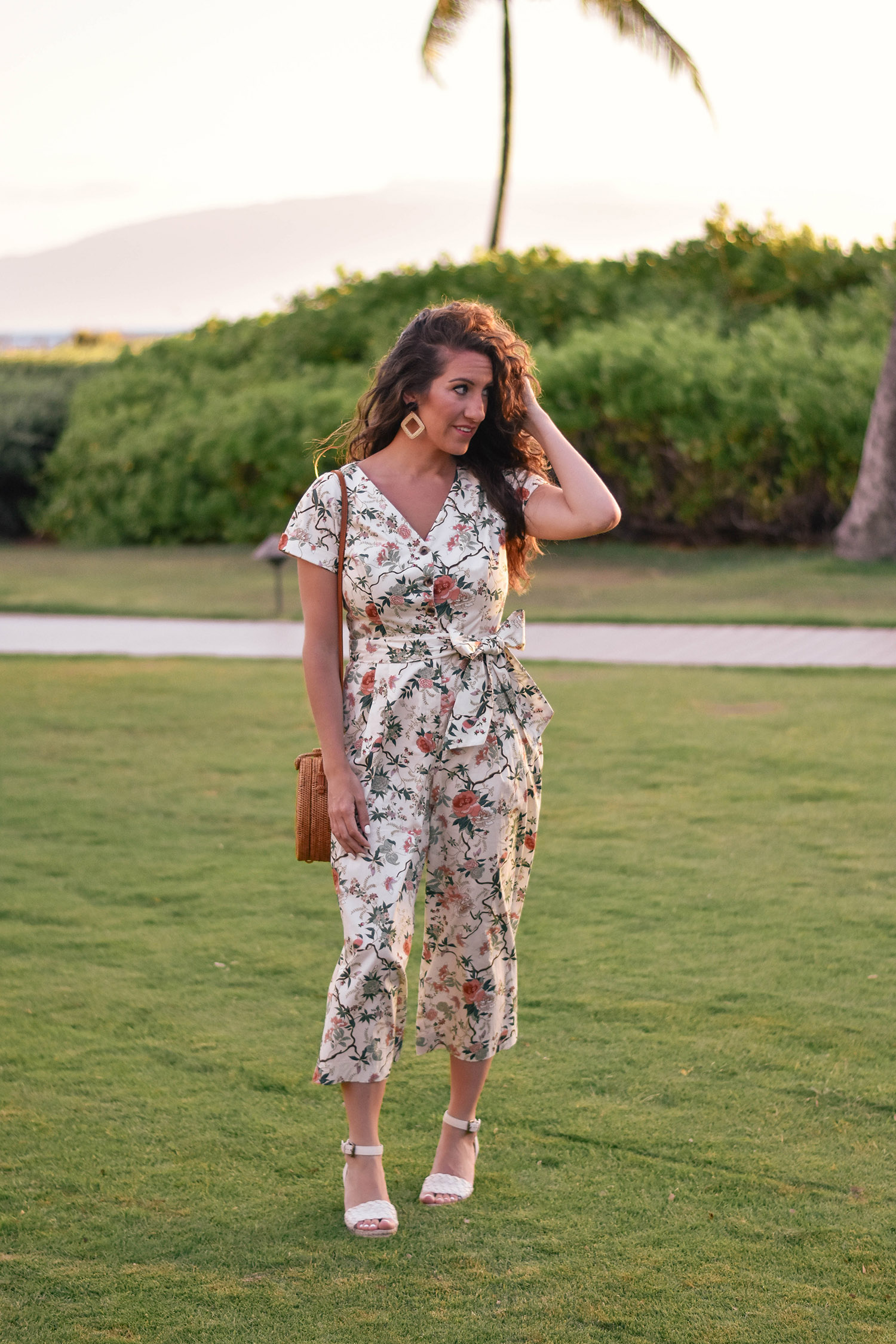 "Gal Meets Glam jumpsuit [ at Nordstrom  //  at Anthropologie ] //  Splendid espadrilles  // Anthropologie earrings [ similar ] / bag [loving  this one  in the rose right now] //  Beautycounter  sheer lipstick in ""poppy"""